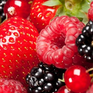 photo of fresh strawberries, raspberries, blackberries