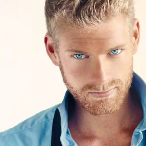 Abercrombie Fierce Type - Man with Piercing Blue Eyes and Blue Shirt