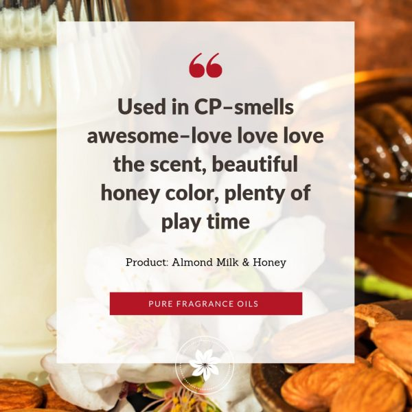review / testimonial on top of photo ok milk jug, honey and almonds