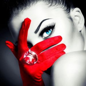 photo of woman with red gloves partially covering her face with a blue eye showing
