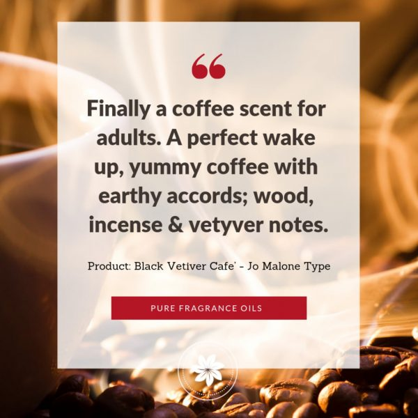 review text on photo of a steaming cup of coffee and whips of smoke with coffee beans