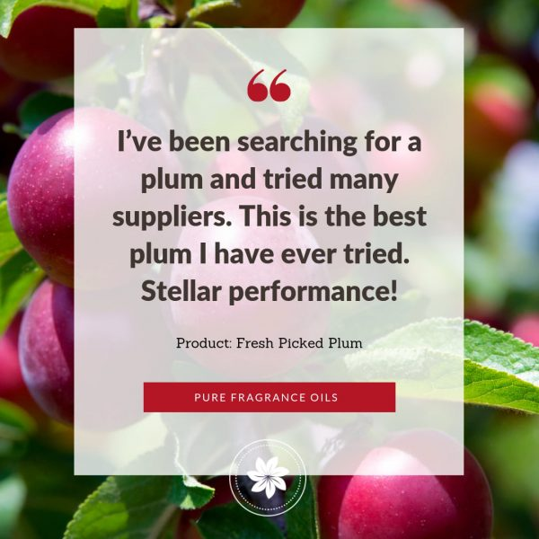 photo of review for fresh picked plum fragrance oil