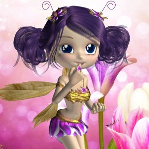 cartoon image of a fairy with purple hair and gold outfit