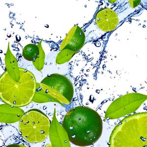 photo of limes and water in a splashed image